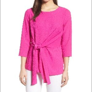 Gibson neon pink blouse with waist tie.